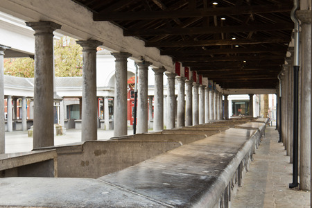 Empty market stalls at an outdoor marketplace