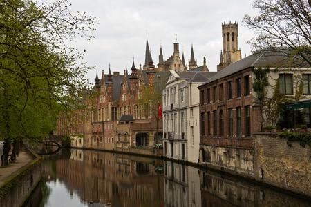 Medieval european city of Bruges, Belgium with its canals 版權商用圖片