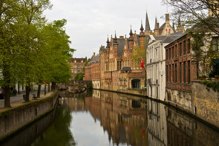 benelux: Medieval town of Bruges, Belgium with its canals