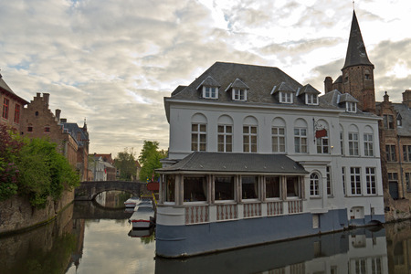 Urban scene of Bruges with its iconic buildings and canals
