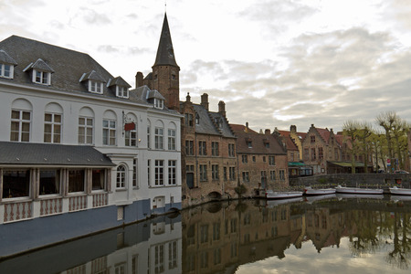 benelux: Urban scene of Bruges with its iconic buildings and canals