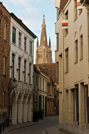 Tranquil street in the medieval centre of Bruges, Belgium