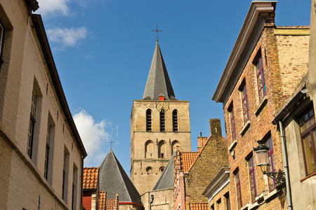 rooftops: Variety of rooftops in the european city of Bruges