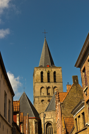 bruges: Variety of rooftops in the european city of Bruges