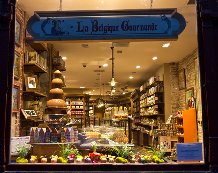 internationally: Chocolatier storefront.  Belgian chocolate is internationally known and dates from as early as the 17th century.