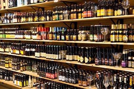 Beer bottles for sale on display in Bruges, Belgium