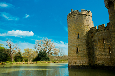 moat: Medieval castle tower with moat