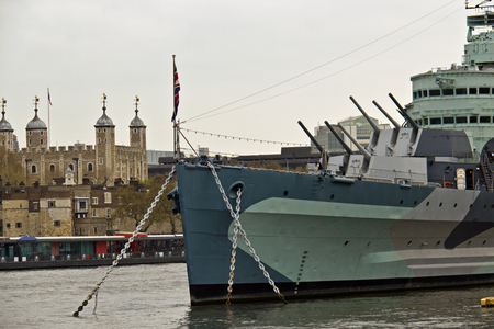 hms: HMS Belfast a Royal Navy light cruiser on the River Thames in London, England