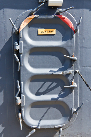 navy ship: Hatch opening on a military navy ship