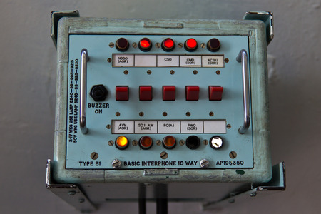 intercommunication: Retro interphone communication device  with buttons and dials