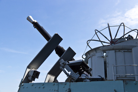 caliber: Vickers .50 caliber machine gun mounted on a navy ship for anti-aircraft duty