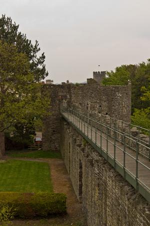 Medieval stone walls encircling Conwy