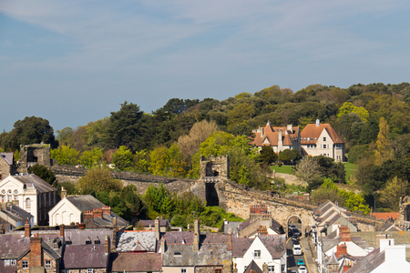 distinctive: View of Conwy, Wales with its distinctive protective stone wall
