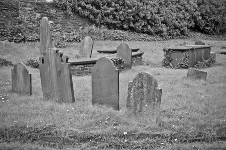 Group of old cemetary tombstones
