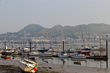 Boats moored in the Conwy harbour in northern Wales