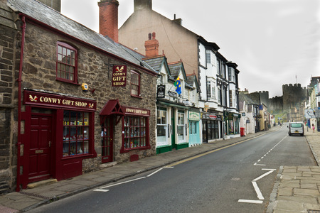 Typical street scene in idyllic town of Conwy, Wales. Editorial