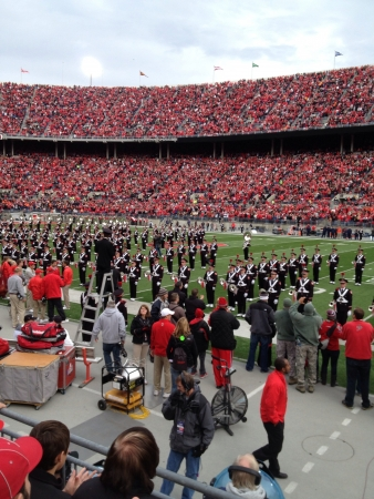 Marching band performs at an Ohio state football game Stock Photo