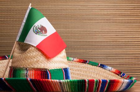 Drapeau mexicain sur un serape mexicain