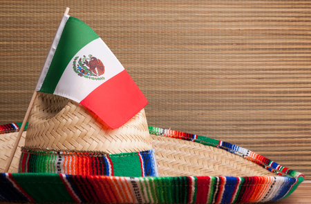 Mexican flag on a Mexican Serape