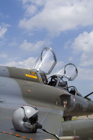 Military fighterplane with helm photo