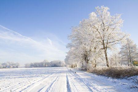 Snow covered farmland Stock Photo