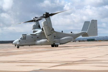 defenses: Military OV-22 Osprey taxiing