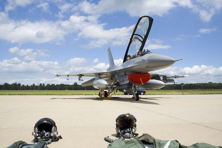 F-16 fighter jet with pilot suits Stock Photo - 6501681