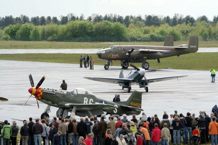 GEILENKIRCHEN, GERMANY - MAY 1: Warbirds performing. Niederrhein Airshow May 1, 2008 in Weeze, Germany.
