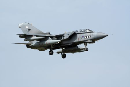 KECSKEMET, HUNGARY - AUGUST 15: British RAF Tornado arriving at Kecskemet airbase for the annual Hungarian airshow on August 15, 2008 in Kecskemet, Hungary.