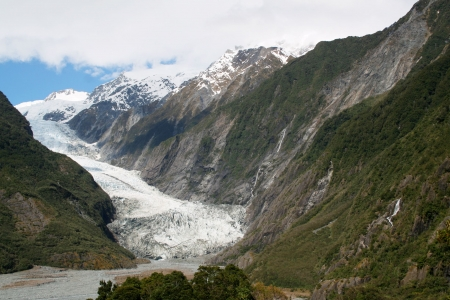 fox glacier: Franz Josef glacier, Southern Alps, New Zealand