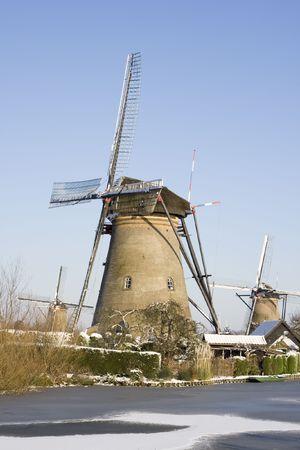 Windmills at Kinderdijk during winter Stock Photo - 6870868