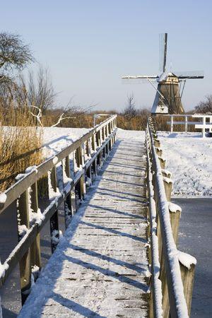 Bridge to the windmills of Kinderdijk photo