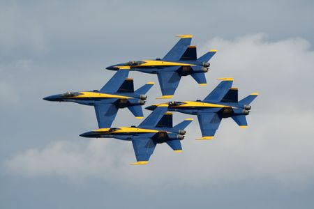 MIRAMAR, CALIFORNIA, USA - OCTOBER 15: US Navy Blue Angels F/A-18 Hornets formation flyby at Miramar Air Show October 15, 2006 in Miramar, California, USA.