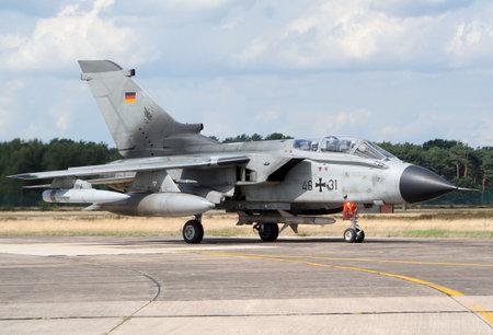 KLEINE BROGEL, BELGIUM - JULY 20: German Air Force Tornado taxiing after landing. Belgium Spotterday July 20, 2005 in Kleine Brogel, Belgium