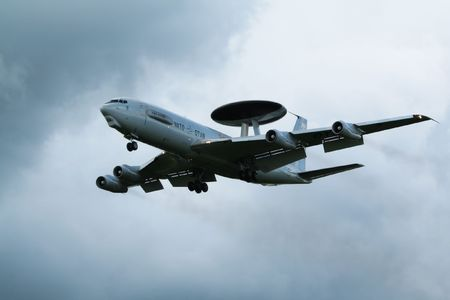 sentry: LEEUWARDEN, THE NETHERLANDS - JUNE 19: NATO E-3 Sentry AWACS landing at Leeuwarden airbase for display at the Royal Dutch Air Force Open Day. June 19, 2008 in Leeuwarden, The Netherlands
