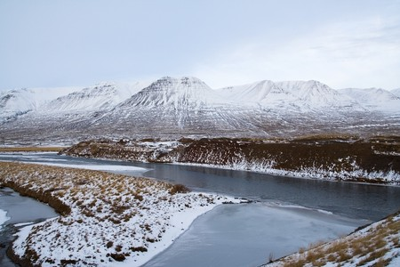 Snow covered hills during winter in Iceland Stock Photo - 7101363