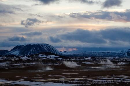 vulcano: Iceland sunset during winter Stock Photo