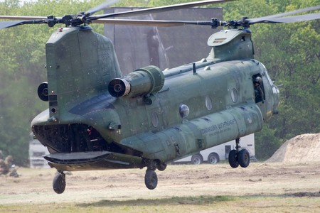 HAVELTE, THE NETHERLANDS - MAY 29: Dutch Army Boeing CH-47 Chinook landing during an Air Power demonstration at the Dutch Army Days on May 29, 2010 in Havelte, The Netherlands Stock Photo - 7098356