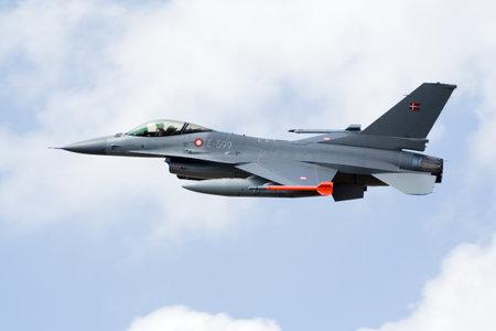 afterburner: KLEINE BROGEL, BELGIUM - JULY 17: Dannish Air Force F-16 take off. Belgium Spotterday July 17, 2007 in Kleine Brogel, Belgium