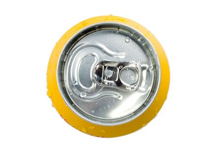 drinking soda: Top view soda can isolated Stock Photo
