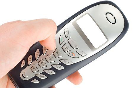 手で家庭用コードレス電話 写真素材