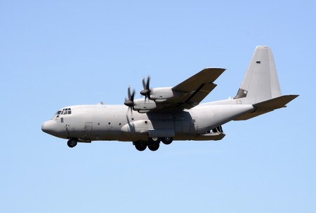 GILZE-RIJEN, THE NETHERLANDS - JUNE 18: Royal Air Force C-130J Hercules flyby on the Dutch Air Force Open Days. June 18, 2005 in Gilze-Rijen, The Netherlands photo