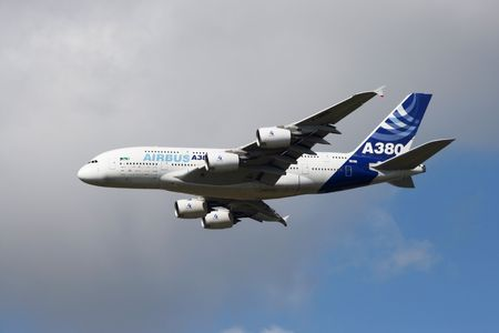 airplane cargo: HYERES, FRANCE - JUNE 13: Airbus 380 flyby during the celibration of 100 years French Navy Aviation on June 13, 2010 in Hyeres, France
