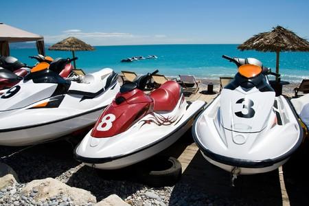 サンタウシア ビーチでのジェット スキー 写真素材