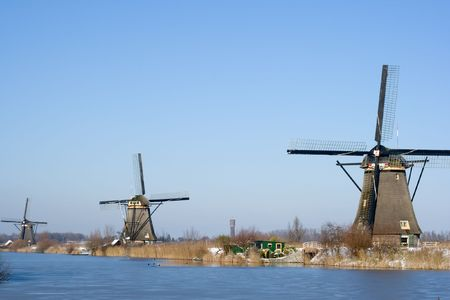 Dutch windmills in the Kinderdijk area, Holland Stock Photo - 7485643