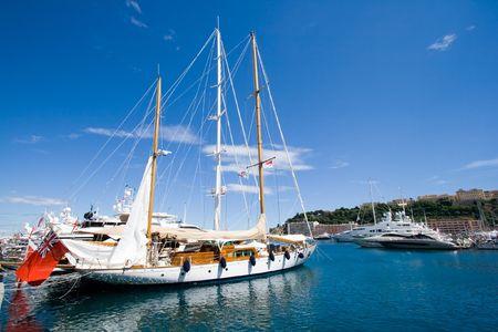 Sailing yacht in the Monte Carlo harbor. Monaco
