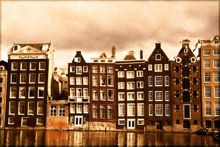 canal house: Amsterdam canal houses with a vintage sepia look Stock Photo