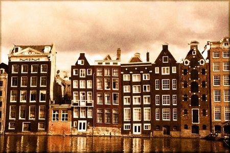 canal house: Canale di Amsterdam case con un look vintage di seppia Archivio Fotografico