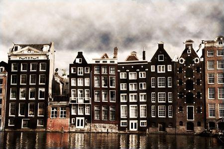 アムステルダムの運河の家セピア ヴィンテージルック