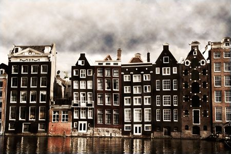 canals: Amsterdam canal houses with a vintage sepia look Stock Photo
